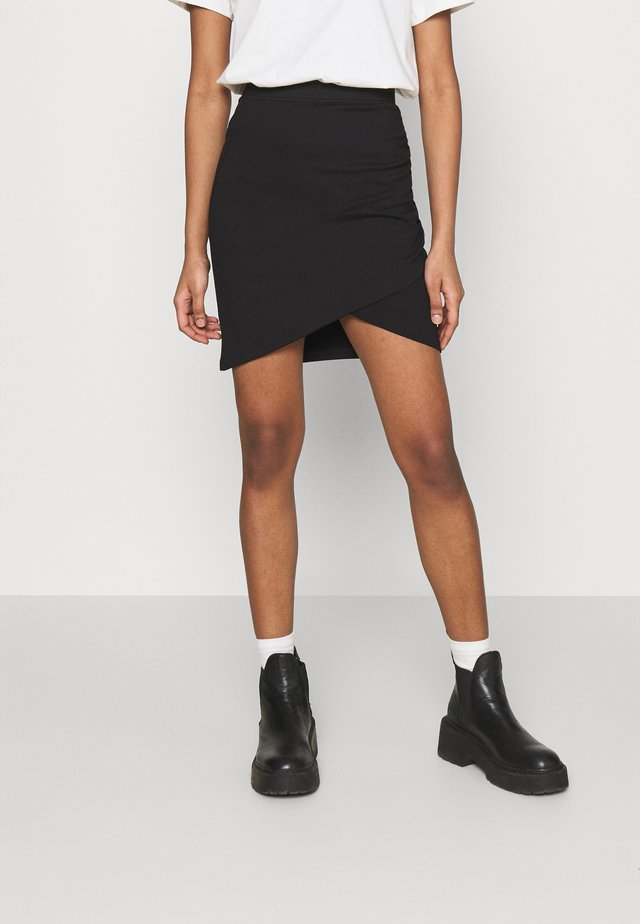 Asymetric overlap wrap mini high waisted skirt - Jupe crayon - black