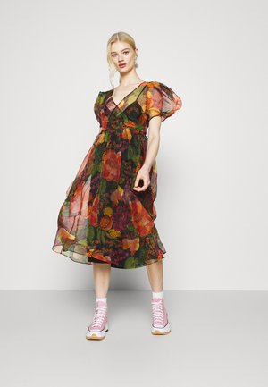 FRUIT FLORL WRAP MIDI DRESS - Day dress - multi