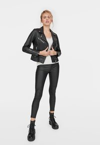 Stradivarius - Leather jacket - black