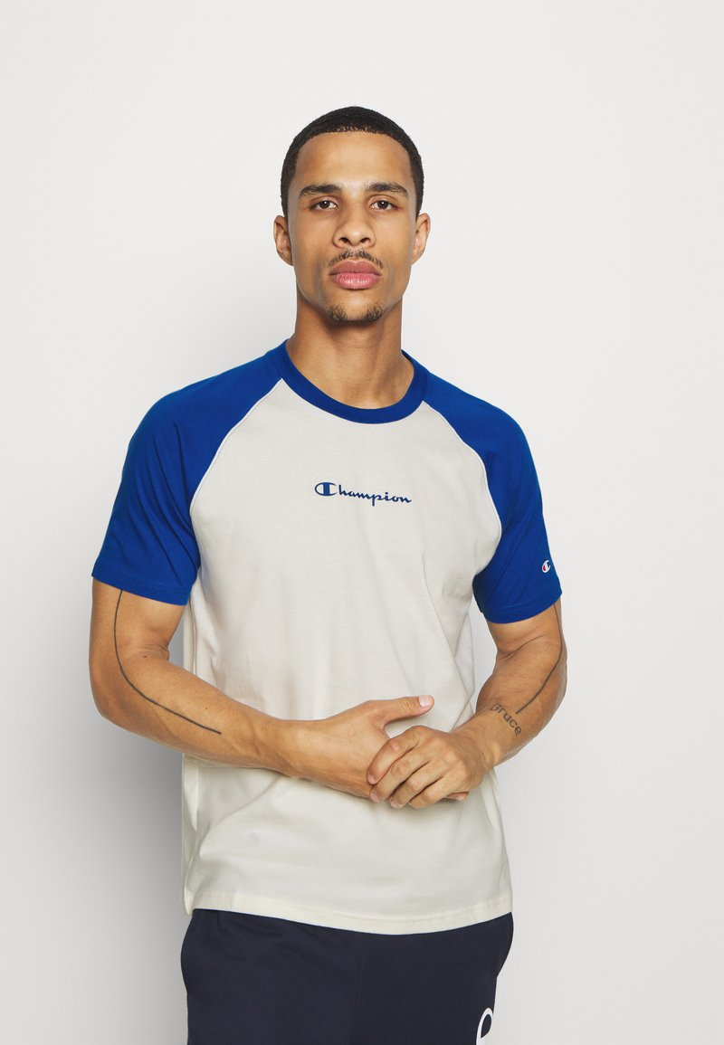Champion - LEGACY CREWNECK  - T-shirt med print - off-white/blue