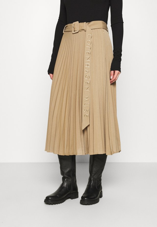 AMINA - Pleated skirt - elmwood