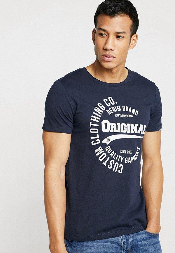 TOM TAILOR DENIM T-shirt z nadrukiem - sky captain blue/granatowy Odzież Męska LUTI