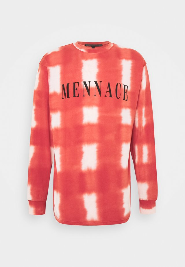 UNISEX GRUNGE MENNACE GRID TIE DYE TEE - T-shirt à manches longues - red