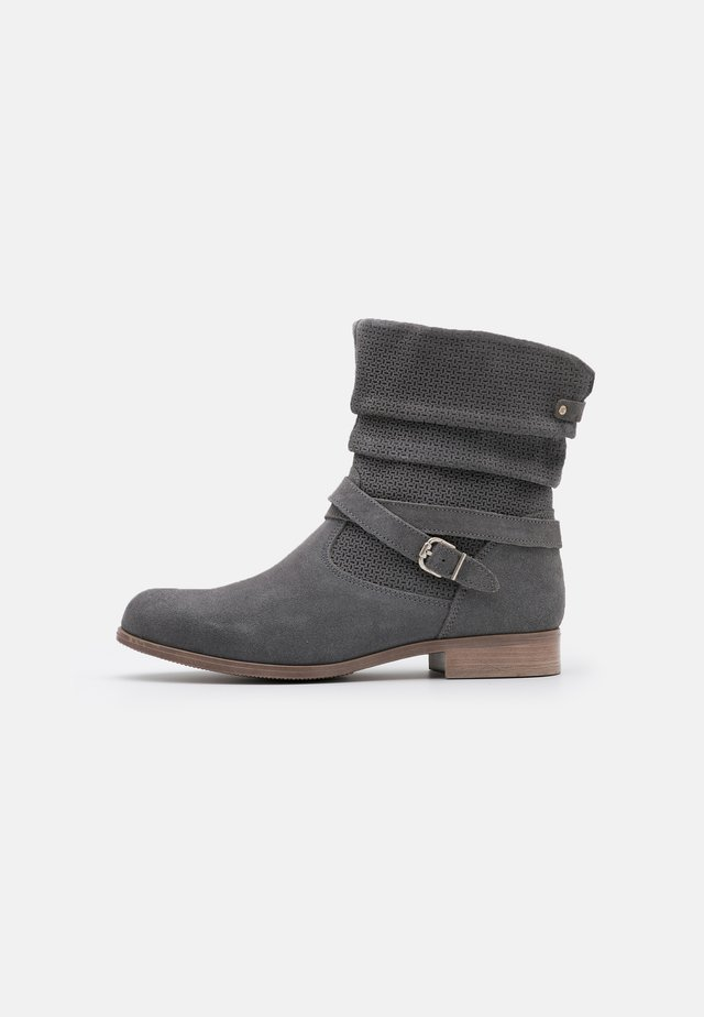 LEATHER - Cowboy/biker ankle boot - grey