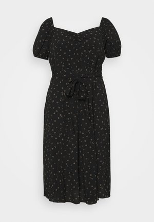HALSEY PUFF SLEEVE MIDI DRESS - Day dress - black