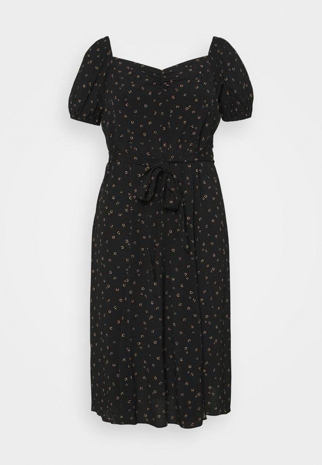 HALSEY PUFF SLEEVE MIDI DRESS - Korte jurk - black