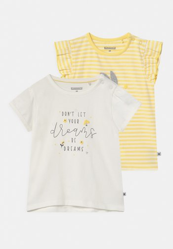 2 PACK - Print T-shirt - white/yellow