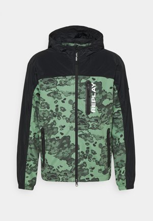 JACKET - Summer jacket - black/green