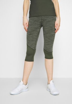 PANELLED HEM CAPRI - 3/4 sports trousers - khaki heather