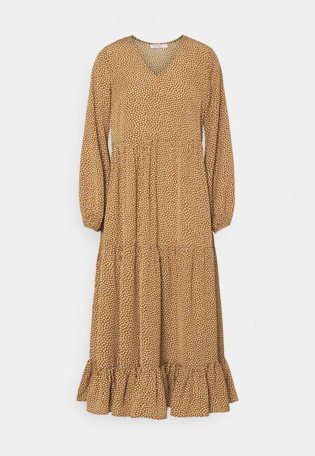 TIERED DRESS - Maxi dress - rust cream