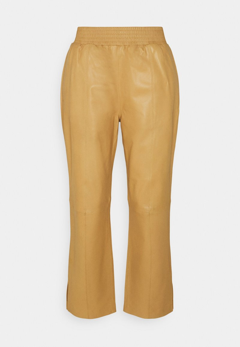 Frame Denim - GYM PANT - Leather trousers - butterscotch