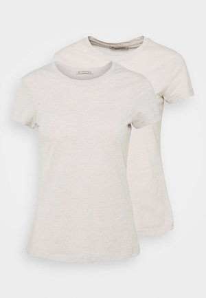 2 PACK - T-shirts - beige