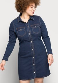 Pieces Curve - PCSILIA DRESS - Denim dress - dark blue denim - 3