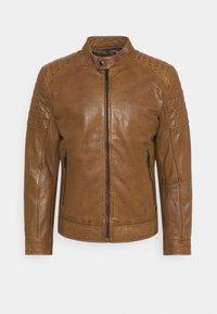 DERRY - Kožená bunda - cognac