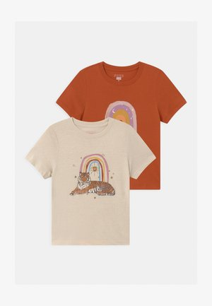 GIRLS CLASSIC 2 PACK - T-shirt print - rainy day/roasted almond