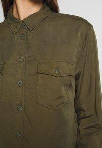 New Look - PATCH POCKET CROP - Button-down blouse - dark khaki - 5