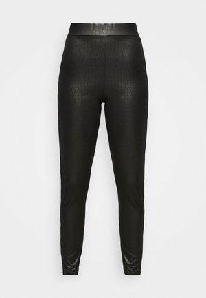 CROC WETLOOK - Leggings - Trousers - black