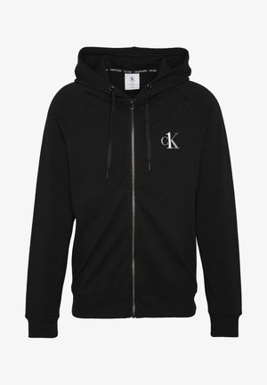LOUNGE FULL ZIP HOODIE - Pyjama top - black