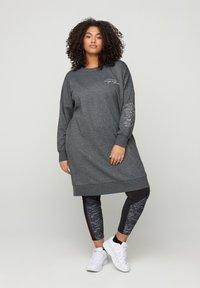 Active by Zizzi - WITH ROUND NECK - Day dress - dark grey - 1