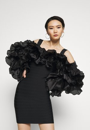 RUFFLE SLEEVE MINI - Vestito elegante - black