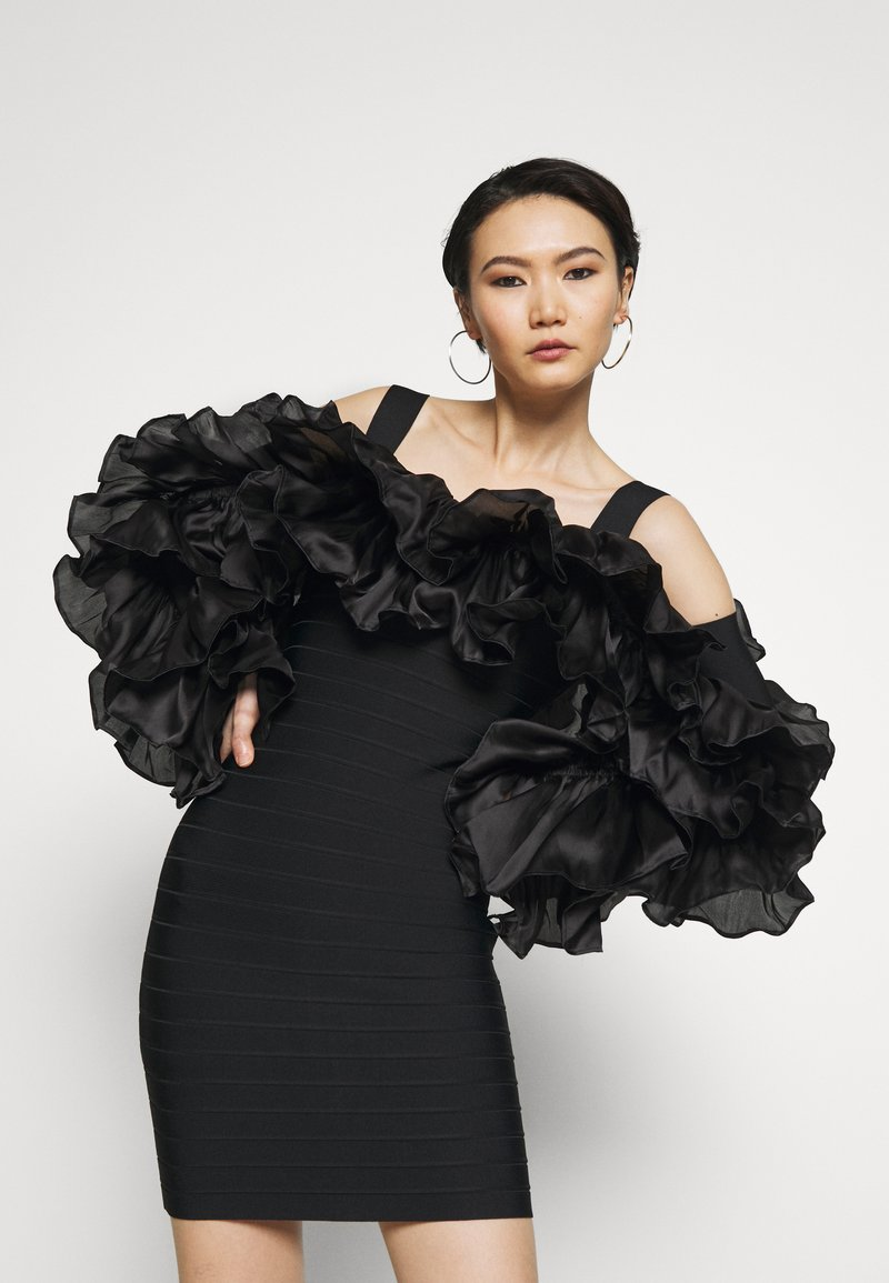 Hervé Léger - RUFFLE SLEEVE MINI - Vestito elegante - black