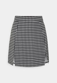 Missguided - SLIT FRONT DOGTOOTH SKIRT - Miniskjørt - black - 0