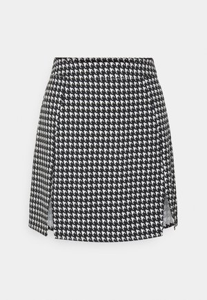 SLIT FRONT DOGTOOTH SKIRT - Mini skirt - black