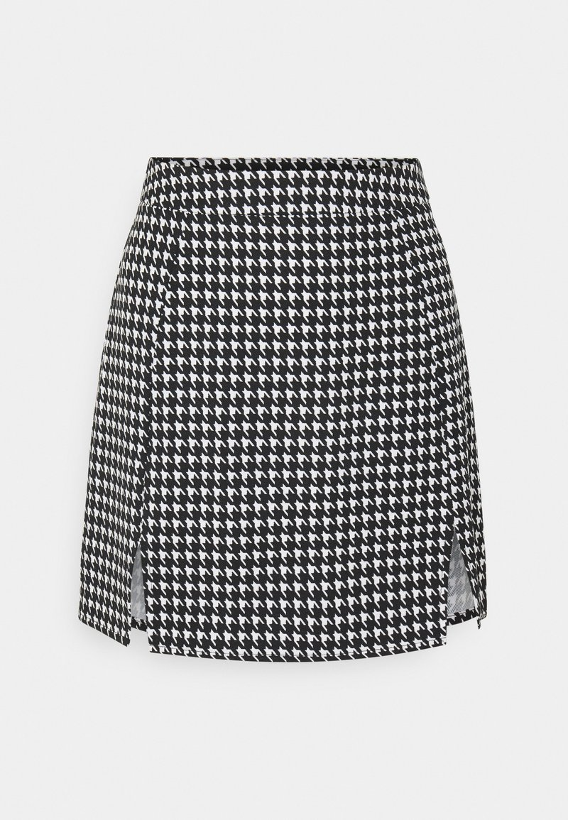 Missguided - SLIT FRONT DOGTOOTH SKIRT - Miniskjørt - black