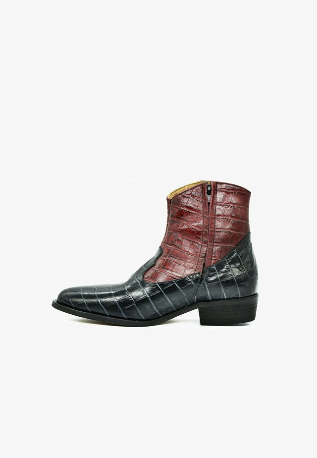 Cowboy-/Bikerlaarsjes - carnelian black croco