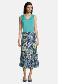 Betty Barclay - MIT AUFDRUCK - A-line skirt - dark blue/green - 1