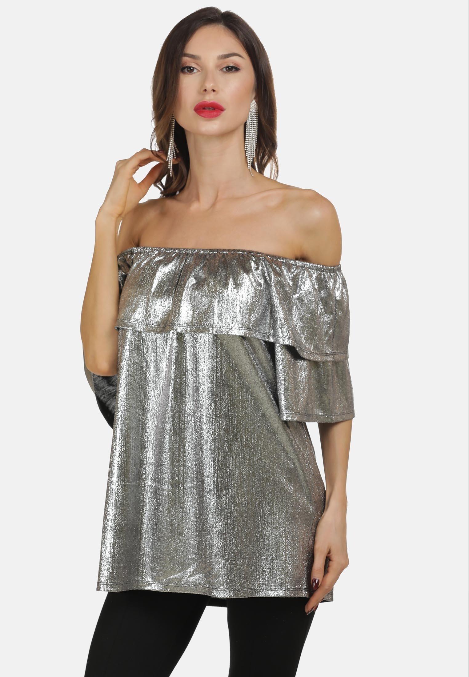 Amazing Price Women's Clothing faina Basic T-shirt silber zNcapfvQC