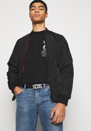 BELT WITH LOGO UNISEX - Belt - black/silver-coloured