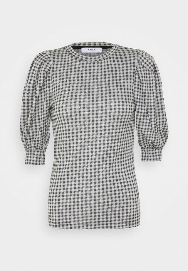 ONLSANDY CHECK - T-shirt con stampa - light grey melange