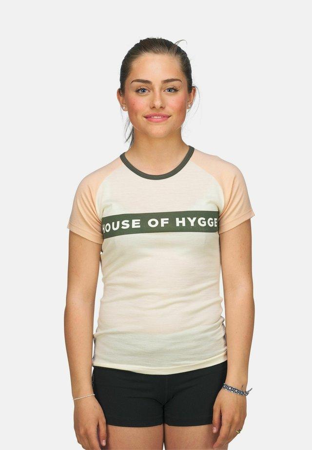 T-shirts med print - hvit og beige
