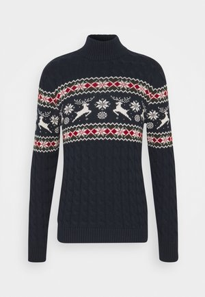 SLHOHMYDEER HIGH NECK - Stickad tröja - sky captain