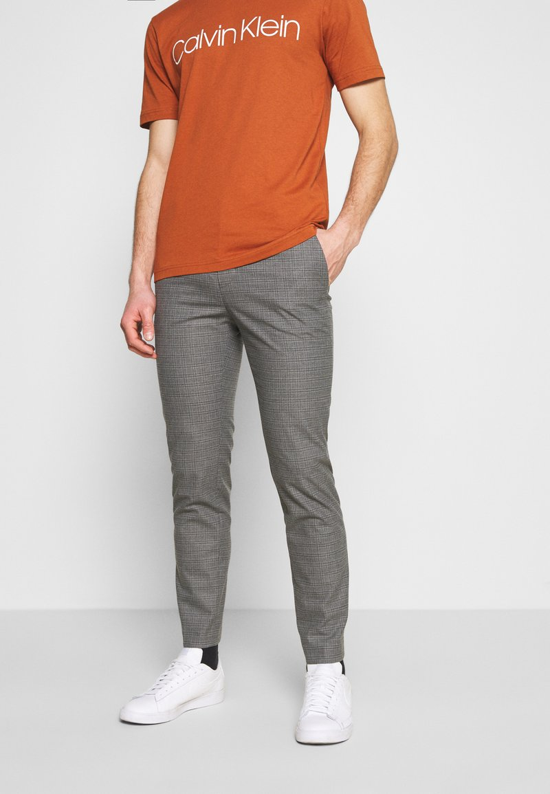 Calvin Klein Tailored - CHECK STRETCH PANTS - Trousers - grey