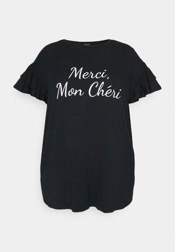 MERCI MON CHERI - Triko spotiskem - black