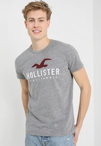 Hollister Co. - ICONIC SOLIDS TEXTURES  - T-shirt med print - light grey - 0