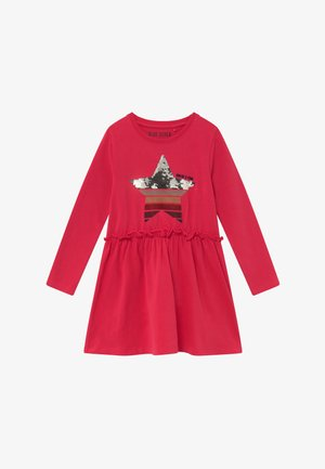 KIDS FLIP SEQUIN STAR RUFFLE - Jersey dress - hochrot
