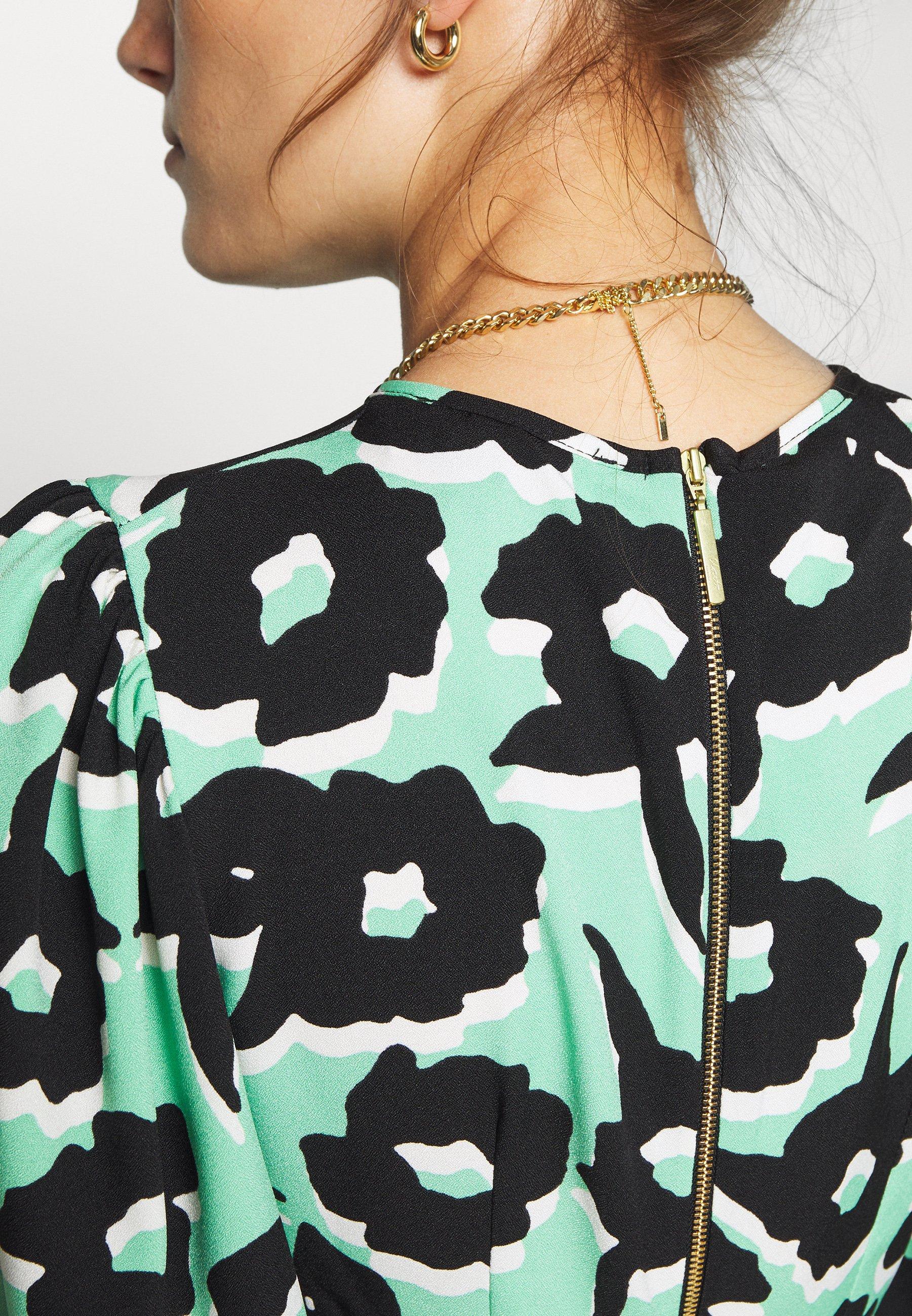 Closet Puff Sleeve Dress - Korte Jurk Green