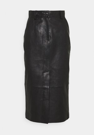 CARA SKIRT - Leather skirt - schwarz