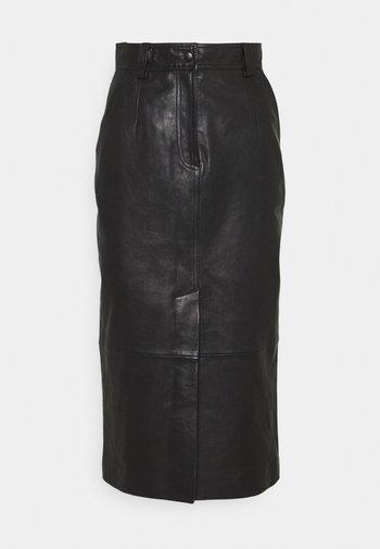 CARA SKIRT - Leather skirt - schwarz