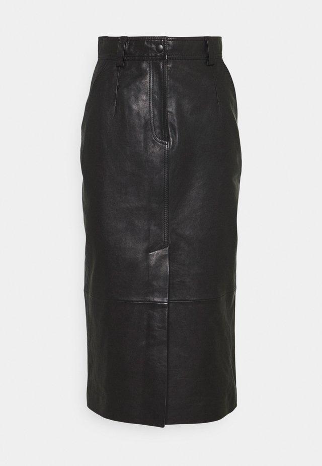 CARA SKIRT - Jupe en cuir - schwarz