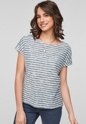 Print T-shirt - faded blue stripes