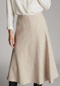 Massimo Dutti - A-line skirt - beige - 3