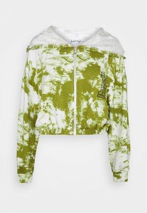 ZIPPER HOODY CROPPED - Zip-up hoodie - white/khaki