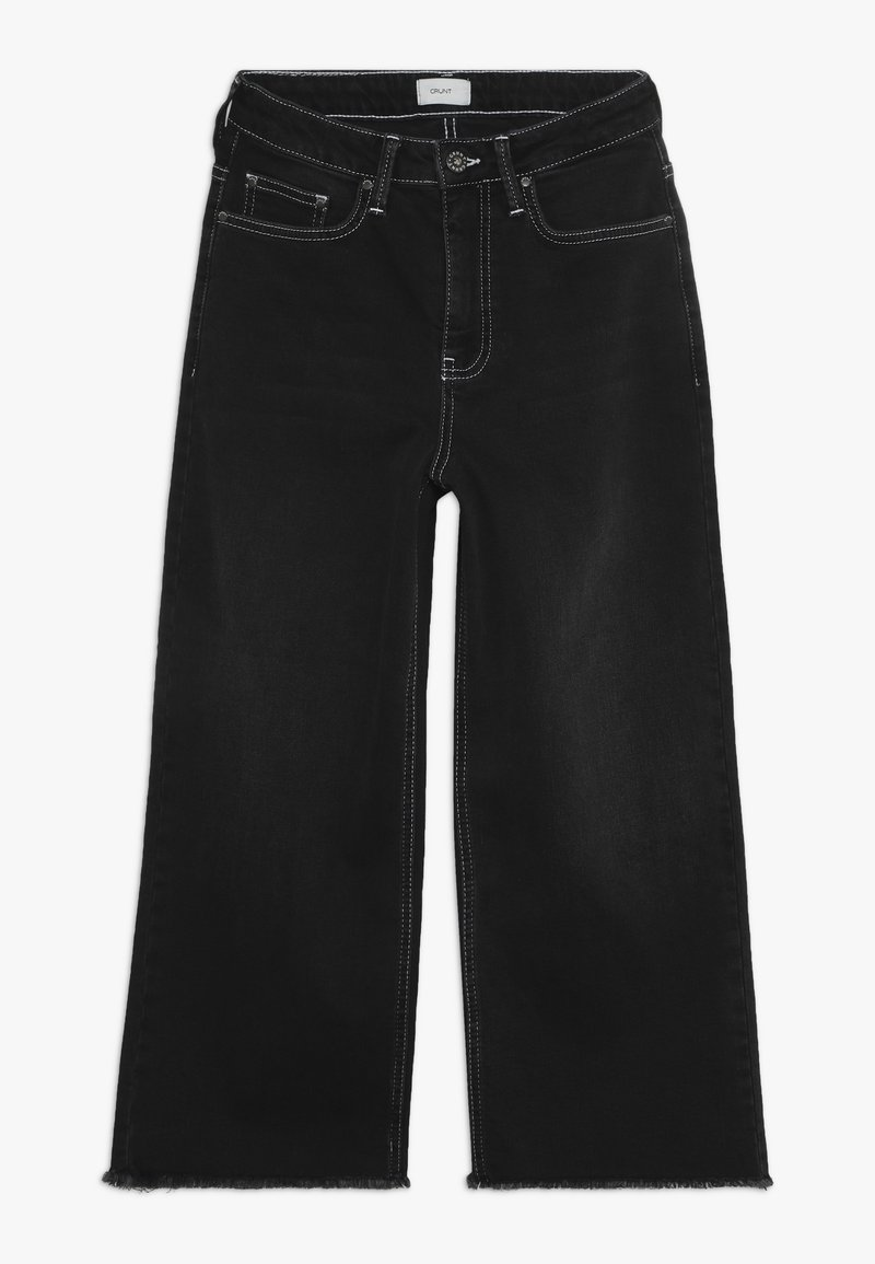 Grunt - ELLIE WIDE LEG CROPED - Flared Jeans - clam black