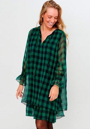CASSY - Day dress - black green checks