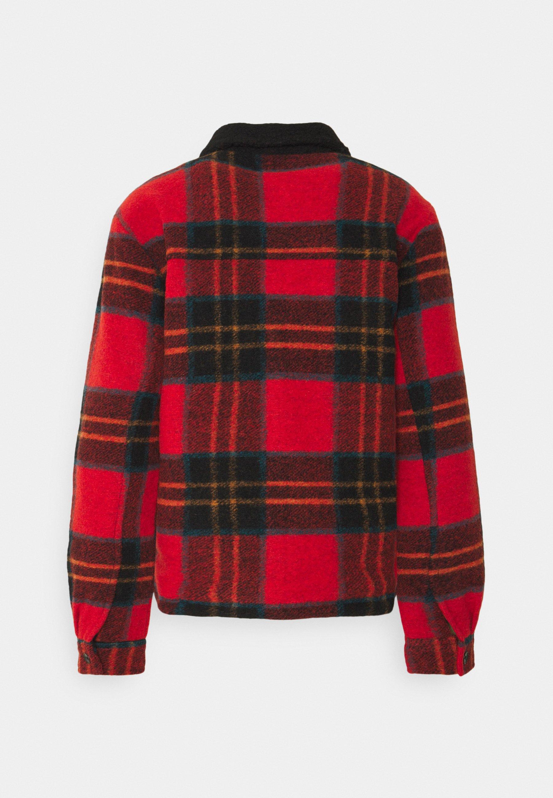 Men TARTAN CHECK JACKET WITH TEDDY COLLAR - Light jacket