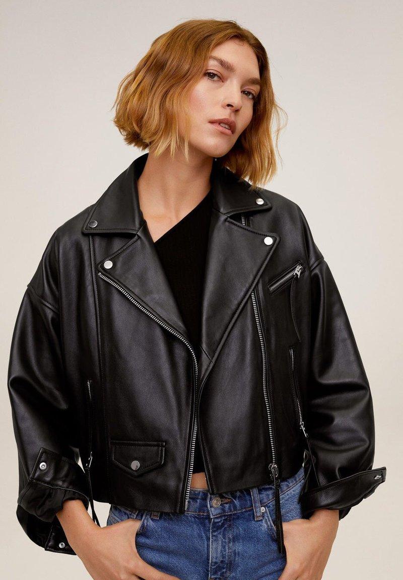 Mango - DANI - Leather jacket - black